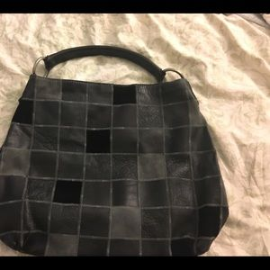Lucky Brand black/charcoal leather/suede purse